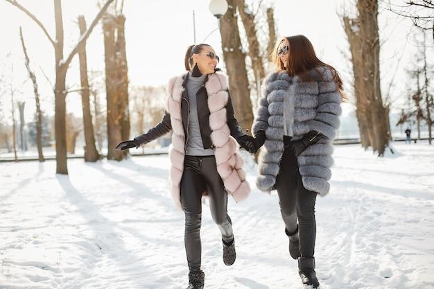 冬の公園で歩くスタイリッシュな毛皮のコートの2人のエレガントで雄大な女の子