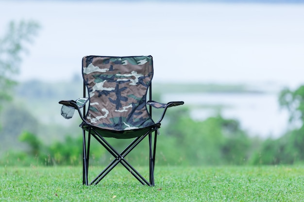 Two empty  folding chairs for outdoor camping