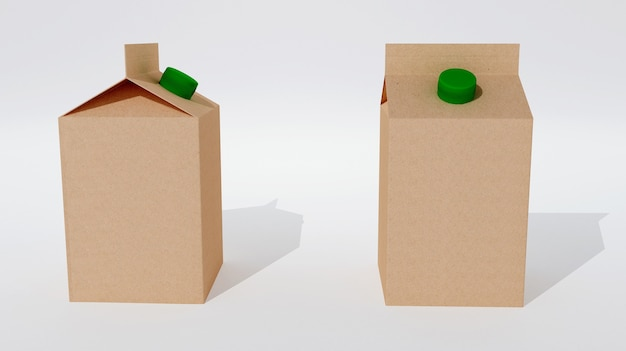 Two empty in packagings for milk or juice isolated. 3d rendering