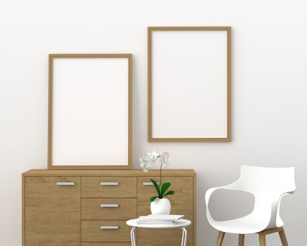 モダンなリビングルーム、3 dレンダリング、3 dイラストレーションのモックアップのための2つの空のフォトフレーム
