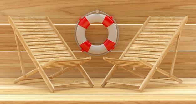 Два пустых шезлонга со спасательным кругом на деревянном