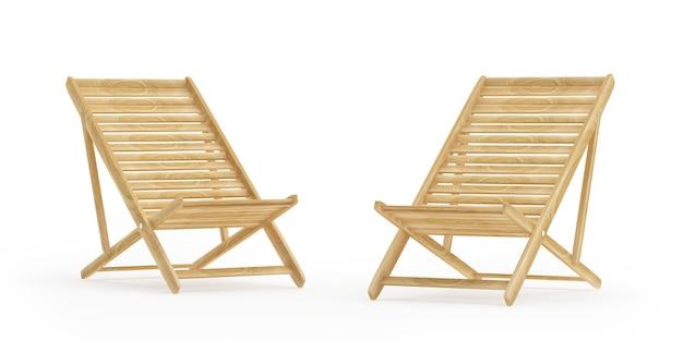 Два пустых деревянных шезлонга