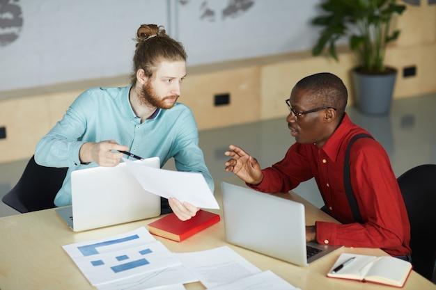 Two entrepreneurs planning startup