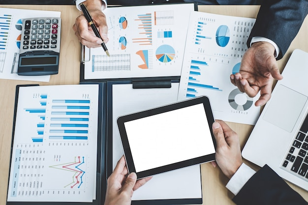 Two executive discussing company growth project success financial statistics