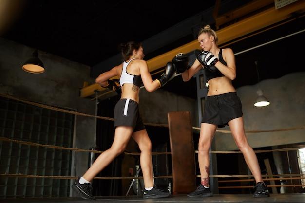 싸우는 두 여성 권투 선수