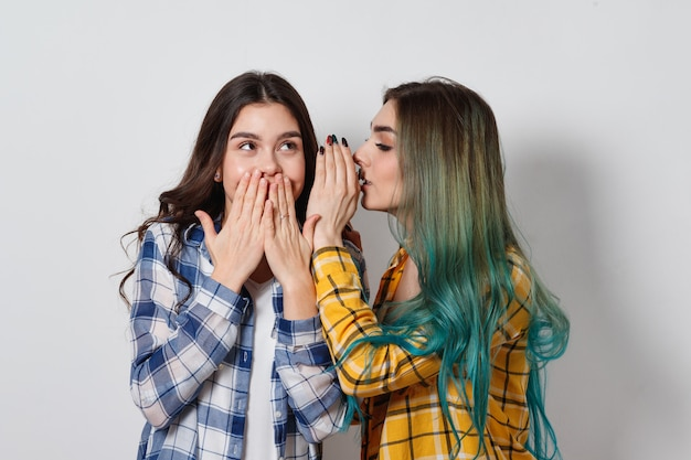 おしゃべりする2人の女性の友人。片方の女の子がもう片方の秘密を耳に伝える