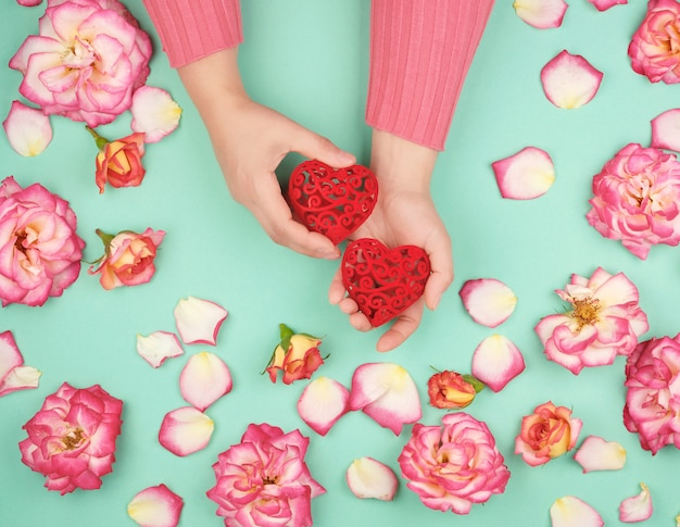 Two female hands hold red hearts , green