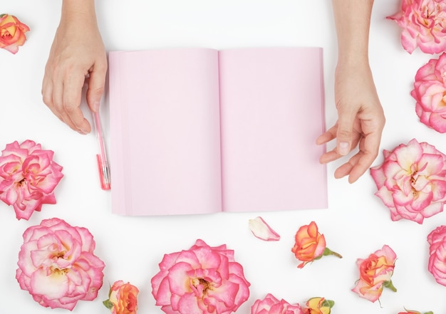 Two female hands holding open notepad with clean pink sheets on a white table, around pink rosebuds, top view