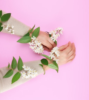 Two female hands and small white flowers