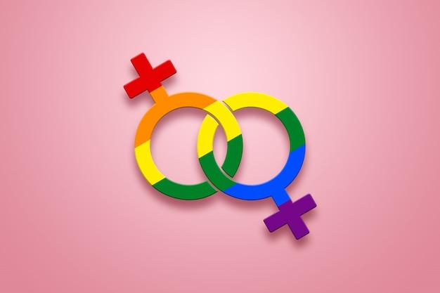 Два женских знака окрашены в цвета лгбт на розовом