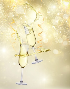 Two festive champagne glasses with streaming paper on golden bokeh background with lights