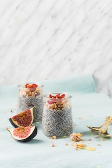 Two fig slices with chia seeds pudding for morning breakfast