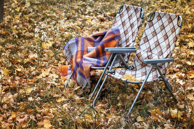 Two folding sun loungers and a warm woolen plaid in the forest in autumn among the fallen foliage