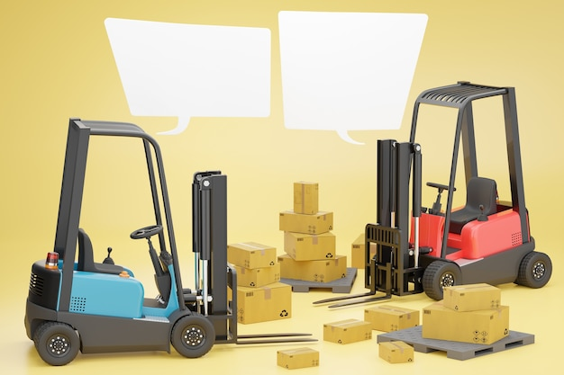 Two forklift trucks with a cardboard box on a pallet and blank text box.