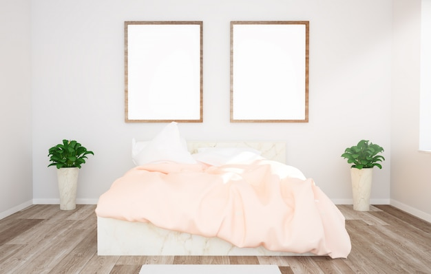 Two frames on a bedroom mockup