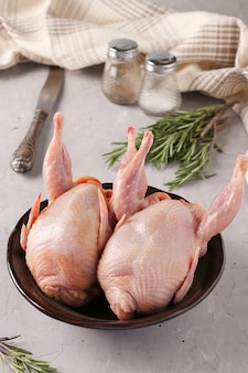 Two fresh organic quails on a plate on a gray background, vertical format