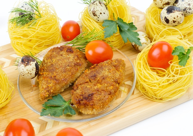 Two fried chicken cutlet