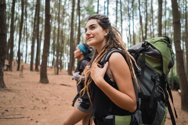 Двое друзей в поход в сосновый лес форрест