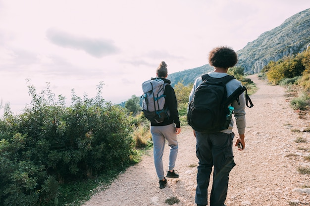 Two friends hiking together