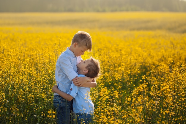 Two funny brother hugging with each other while walk in yellow field.