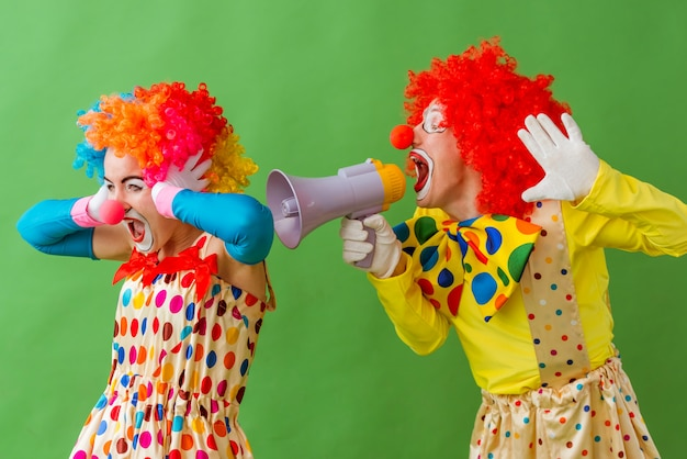 Two funny playful clowns standing on green