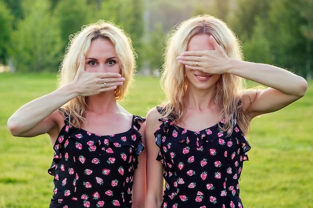 두 명의 재미있는 자매 쌍둥이 아름다운 곱슬 금발의 행복한 젊은 이빨 미소 여성은 세련된 드레스를 입고 여름 공원 일몰 광선 필드 배경에서 즐겁게 지냅니다.