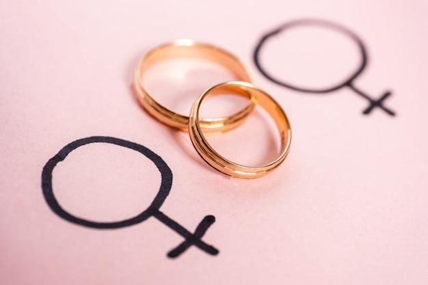 Two gender symbols mirror of venus with wedding rings