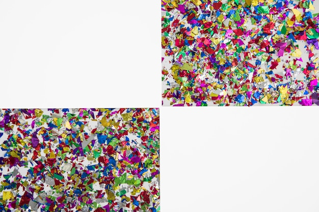 Two geometric shape made with colorful confetti on white backdrop
