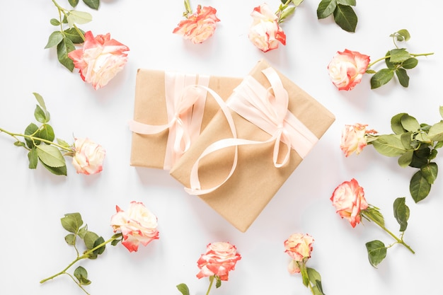 Two gift boxes surrounded with beautiful roses on white backdrop