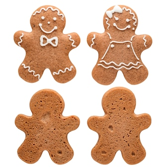 Two gingerbread man isolated on white