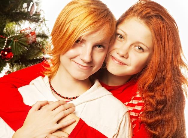 2人のガールフレンド。クリスマス休日。