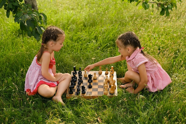 Two girls are playing chess in the garden on the grass