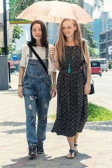 暑い日に傘の下を歩いている2人の女の子
