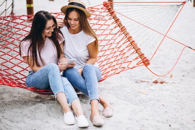 Two girls friends having fun