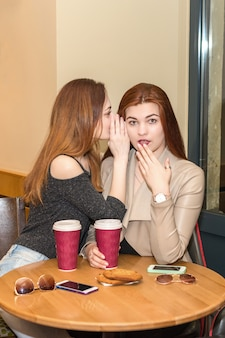 Two girls gossiping in a cafe bar