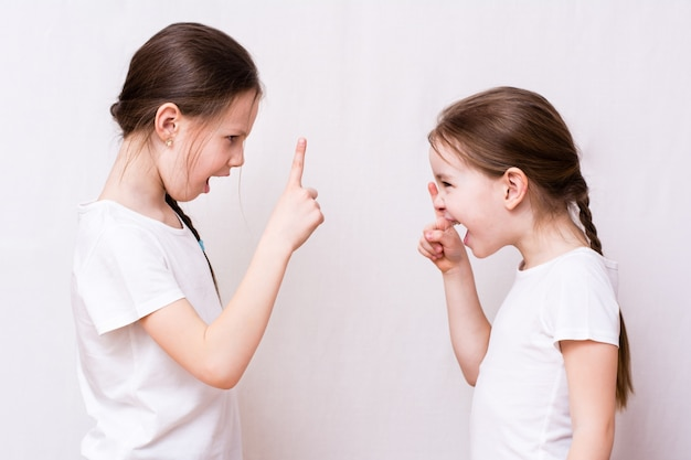 Two girls sisters strongly quarrel with each other