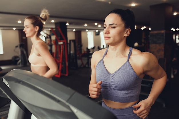 Two girls train in the gym. one girl teaches a friend and helps her with training.
