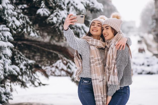 겨울 공원에서 함께 두 여자 쌍둥이