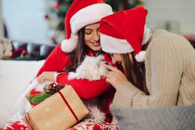 Две девочки с маленькой собачкой сидят на диване в канун нового года. друзья вместе.