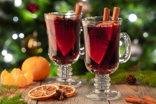 Two glass of christmas mulled wine or gluhwein.