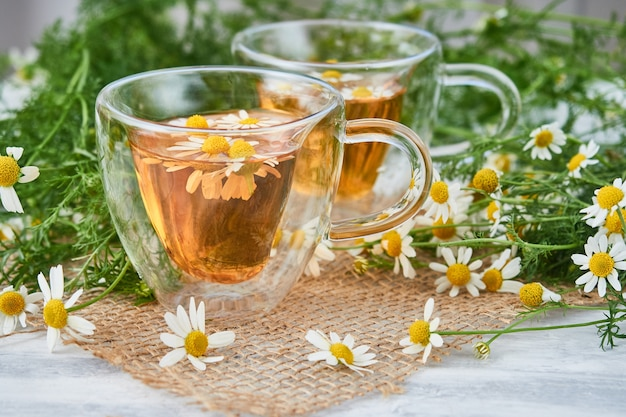 Two glass cups of tea with chamomile, scattered chamomile flowers on a piece of burlap.