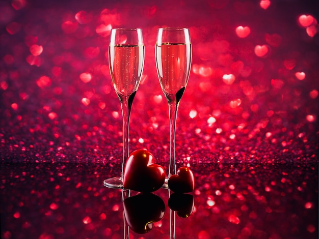 Two glasses of champagne and two red hearts with red heart shape bokeh on background. romantic dinner. happy valentine's day concept.