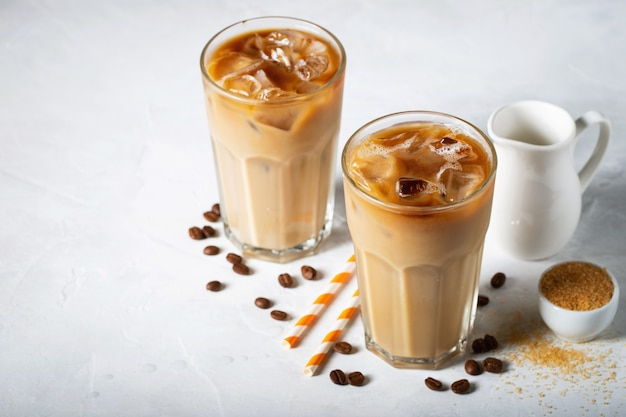 Two glasses of cold coffee.