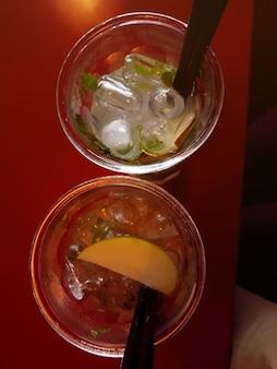 Two glasses of fresh lemonade. refreshing drink. top view