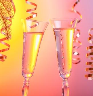 シャンパン2杯新年またはクリスマスのお祝いのシンボル