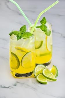 柑橘系の果物とグリーンミントの小枝を使ったさわやかなカクテル2杯
