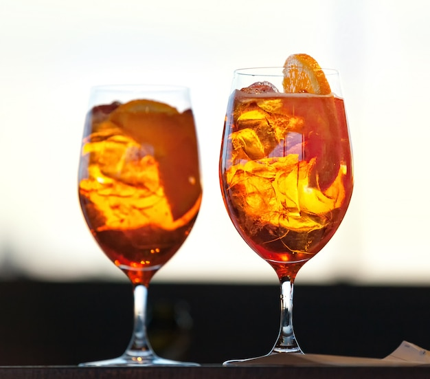 Two glasses of spritz cocktail