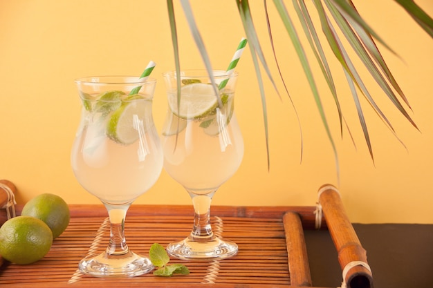 Two glasses with mojito cocktail on the orange background.