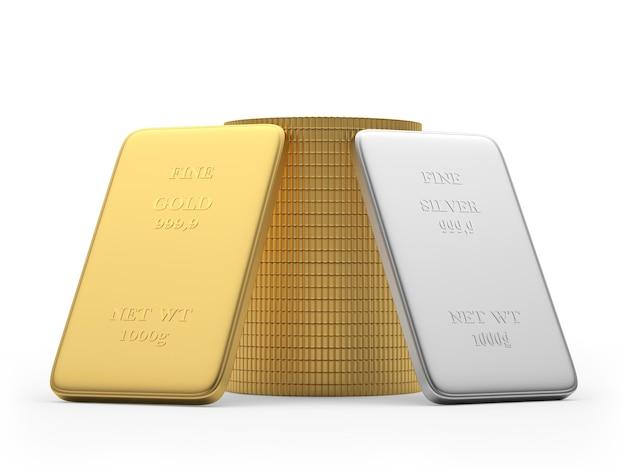 두 개의 금색과 은색 막대와 동전 더미