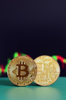 Two gold bitcoins lie on the green surface on the background of the display, which depicts the growth of the position on the chart